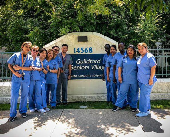 Surrey Health Care Assistant students enjoying practicum @ Guildford Seniors' Village