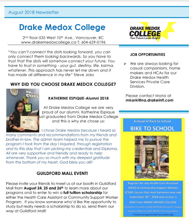 drake medox college newsletter august 2018 drake medox college