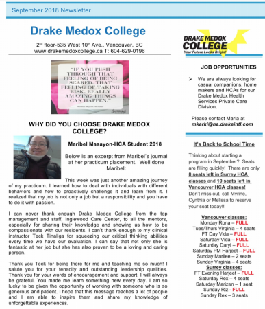 Drake Medox College Newsletter September 2018