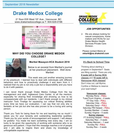 Drake Medox College Newsletter September 2018