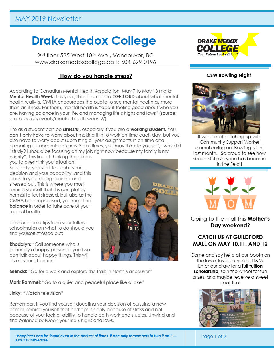 """6cdfa81f5d6 ... at DMC sat me in her office and explained to me the full process down  to what my financial options were. Drake Medox College treated me like  family."""""""